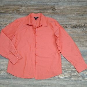 Foxcroft Orange Non Iron Shaped Fit Button Down